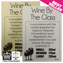 125ml, 175ml & 250ml Wine By The Glass Licensing & Bar Notice