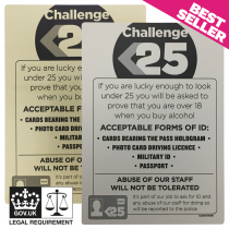 Challenge 25 - Under Age Drinking - Pub & Bar Notice