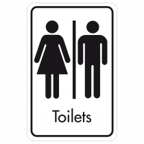 Large Toilets Door Sign - Black on White
