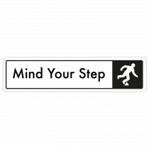 Mind The Step Door Sign - Black on White