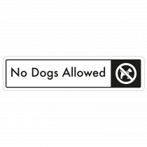No Dogs Allowed Door Sign - Black on White
