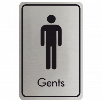 Large Gents Door Sign - Black on Silver