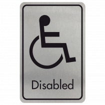 Large Disabled Door Sign - Black on Silver