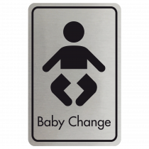 Large Baby Changing Door Sign - Black on Silver