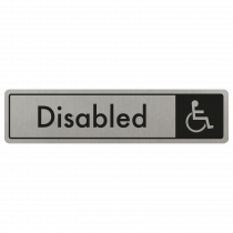 Disabled Door Sign - Black on Silver