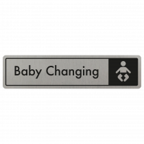 Baby Changing Door Sign - Black on Silver