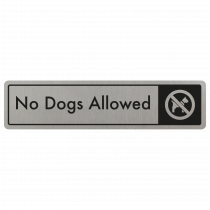 No Dogs Allowed Door Sign - Black on Silver