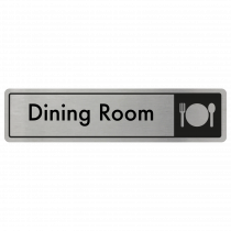 Dining Room Door Sign - Black on Silver