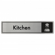 Kitchen Door Sign - Black on Silver