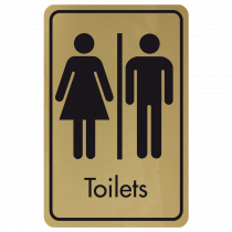 Large Toilets Door Sign - Black on Gold