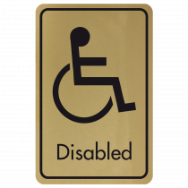 Large Disabled Door Sign - Black on Gold