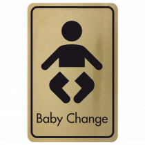 Large Baby Changing Door Sign - Black on Gold