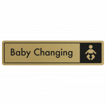 Baby Changing Door Sign - Black on Gold