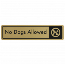 No Dogs Allowed Door Sign - Black on Gold