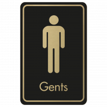 Large Gents Door Sign - Gold on Black