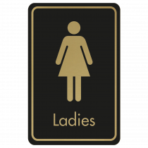 Large Ladies Door Sign - Gold on Black