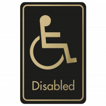 Large Disabled Door Sign - Gold on Black