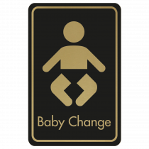 Large Baby Changing Door Sign - Gold on Black