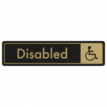 Disabled Door Sign - Gold on Black