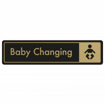 Baby Changing Door Sign - Gold on Black