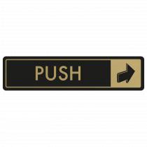 Horizontal Push Door Sign - Gold on Black