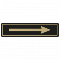 Arrow Door Sign - Gold on Black