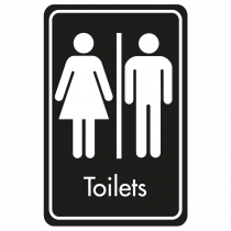Large Toilets Door Sign - White on Black