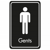 Large Gents Door Sign - White on Black