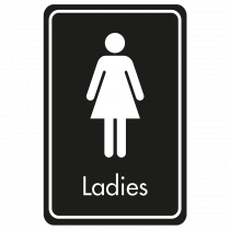 Large Ladies Door Sign - White on Black