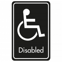 Large Disabled Door Sign - White on Black