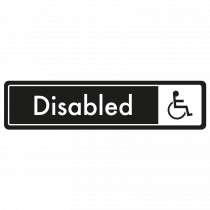 Disabled Door Sign - White on Black
