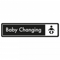 Baby Changing Door Sign - White on Black