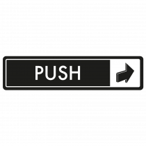 Horizontal Push Door Sign - White on Black