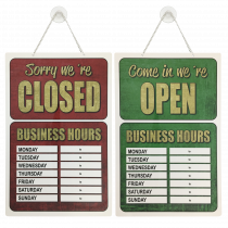 Shop Business Hours open and closed window hanging sign