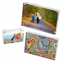 Magnetic Glass Block Photo Holders