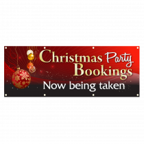Christmas Party Bookings Now Being Taken Single Sided PVC Banner - Red