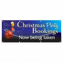 Christmas Party Bookings Now Being Taken Single Sided PVC Banner - Blue