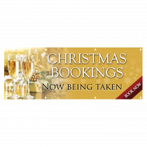 Christmas Party Bookings Now Being Taken Single Sided PVC Banner - Gold