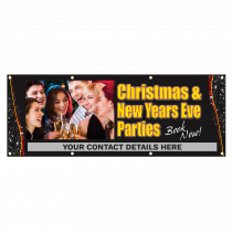 Personalised Christmas & New Years Eve Parties Single Sided PVC Banner