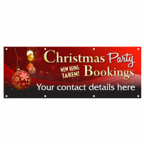 Personalised Christmas Party Bookings Now Being Taken Single Sided PVC Banner - Red