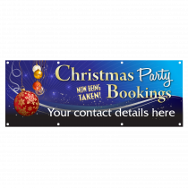 Personalised Christmas Party Bookings Now Being Taken Single Sided PVC Banner - Blue