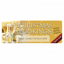 Personalised Christmas Party Bookings Now Being Taken Single Sided PVC Banner - Gold