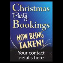 Personalised Christmas Party Bookings Now Being Taken Waterproof Poster - Blue