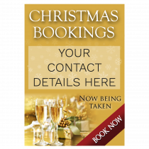 Personalised Christmas Party Bookings Now Being Taken Waterproof Poster - Gold