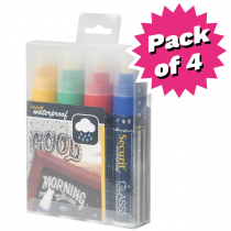Assorted Colour Waterproof Liquid Chalk Pens  - Pack of 4 - Large 7-15mm Nib