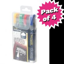 Assorted Colour Waterproof Liquid Chalk Pens - Pack of 4 - Medium 2-6mm Nib