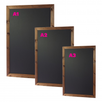 Dark Oak Wood Framed wallmounted Chalkboard. Available in A3 / A2 & A1 size. Interior & Exterior use