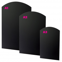 Curved Top Unframed Chalkboard Wall Panel. Available in A3, A2 & A1 size