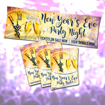 New Years Eve Party Night Poster and Banner Advertising Bundle