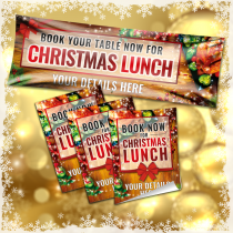 Personalised Christmas Lunch Advertising Pack Banners and Posters
